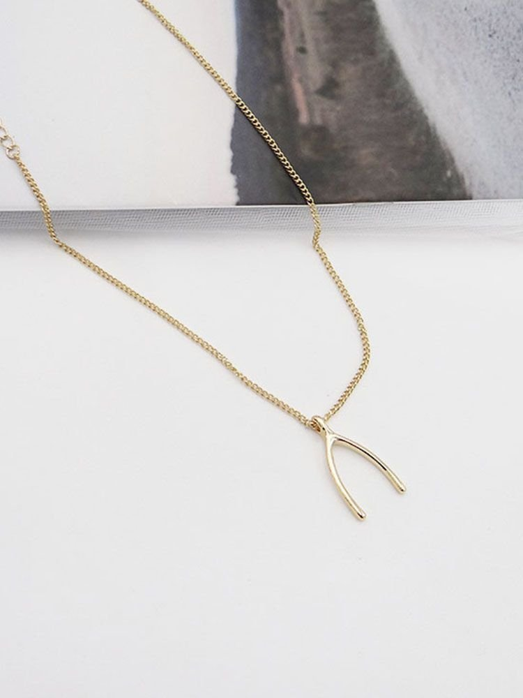 Wishbone Designed Pendant Necklace