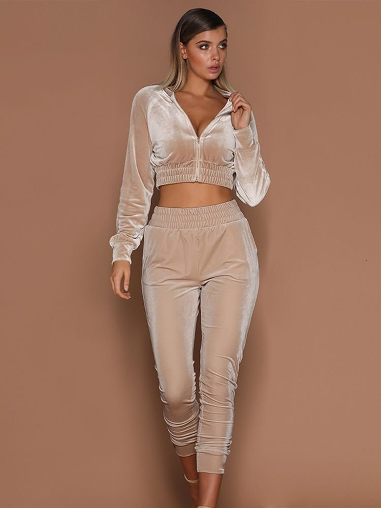 JurllyShe Velvet Zipper Top With Pants Set