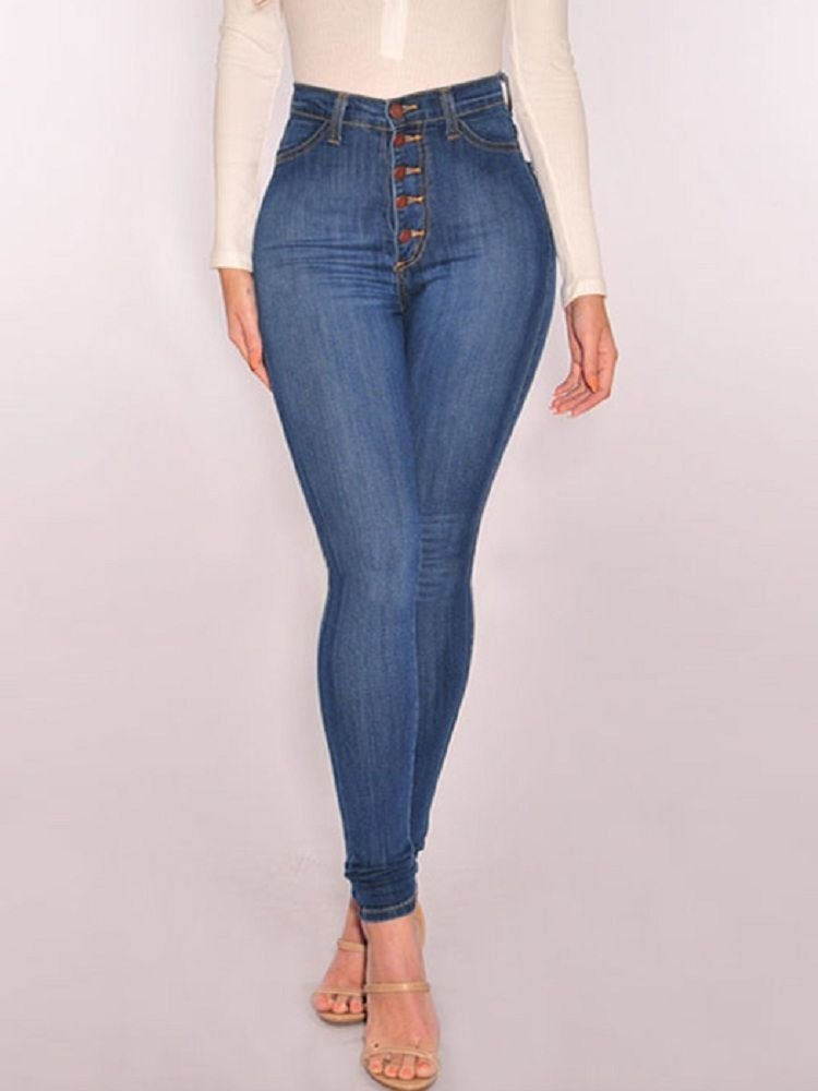 JurllyShe Button Up High Waist Bleached Jeans-Light Blue
