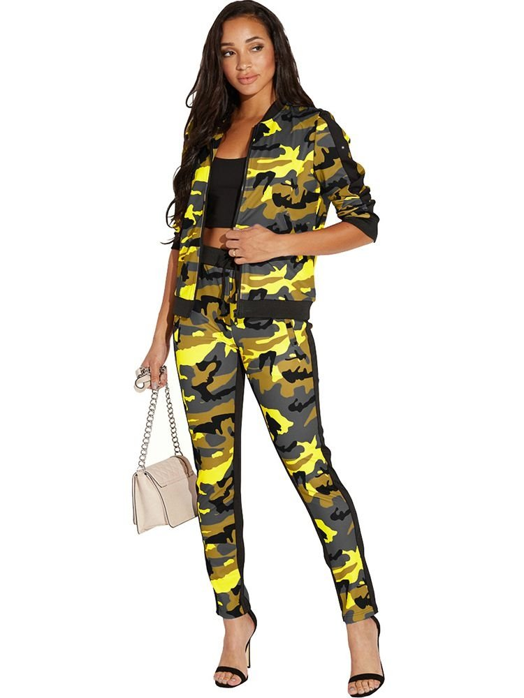 JurllyShe Camo Print Bomber Jacket & Pants Two Piece Sets