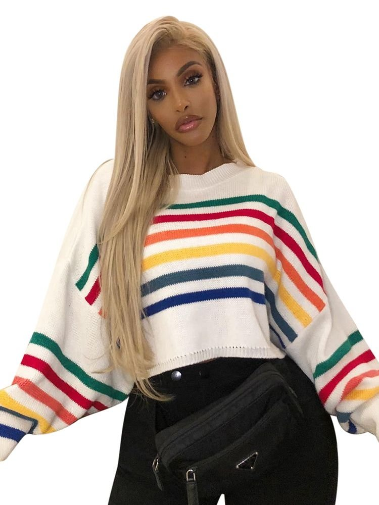 JurllyShe Drop Shoulder Color-Block Crop Sweater