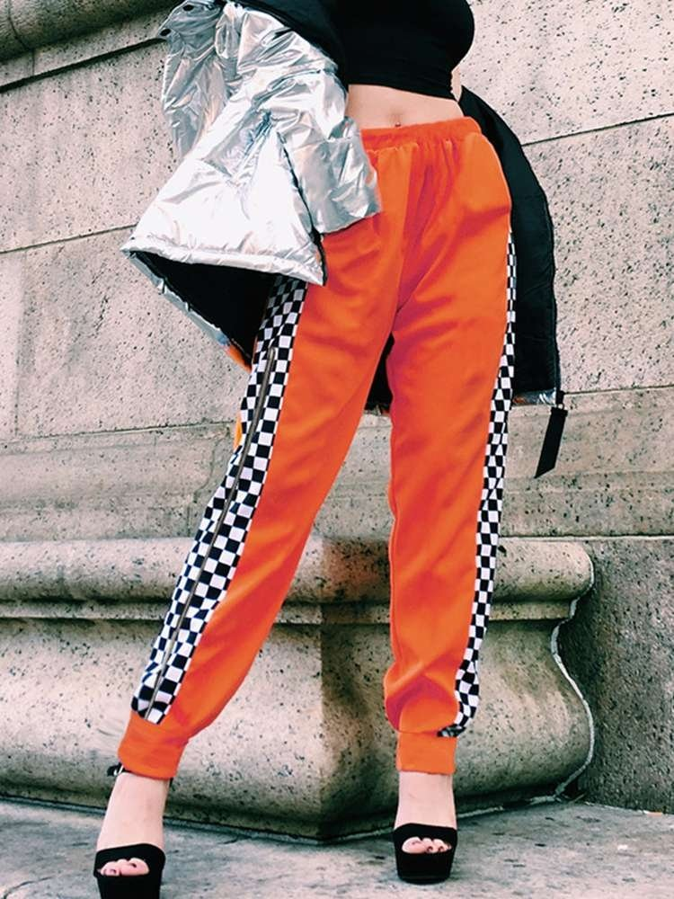 JurllyShe High Waist Side Checkerboard Zipper Split Sweatpants