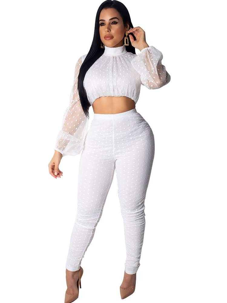 JurllyShe Mesh Patchwork Crop Top With Pants Outfit