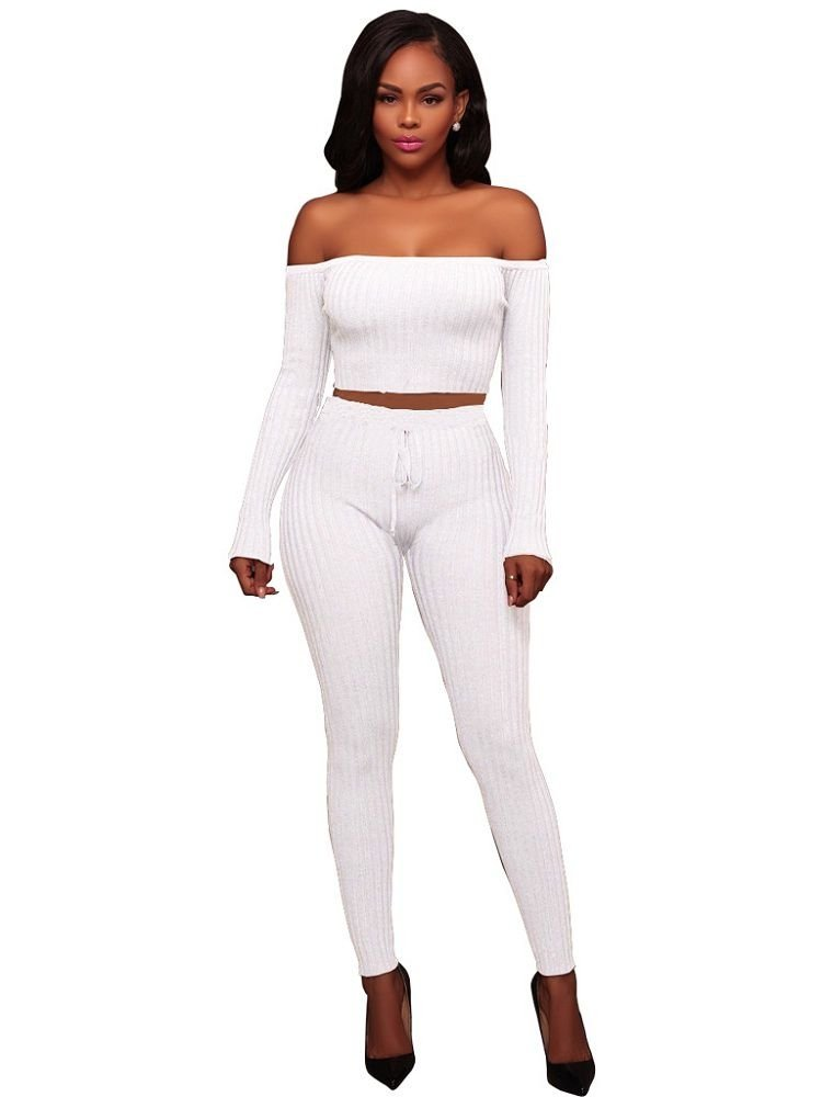JurllyShe Off Shoulder Rib Knit Crop Top And Pants Two Piece Sets-White