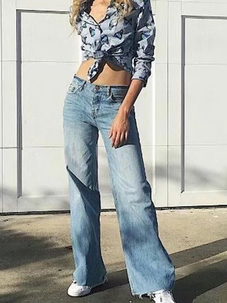 JurllyShe Raw Hem Bleach Washed Wide Leg Jeans Wide Leg Pants