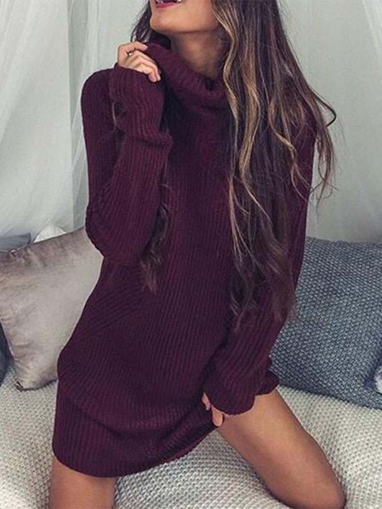 JurllyShe Rolled Neck Ribbed Knit Sweater Dress