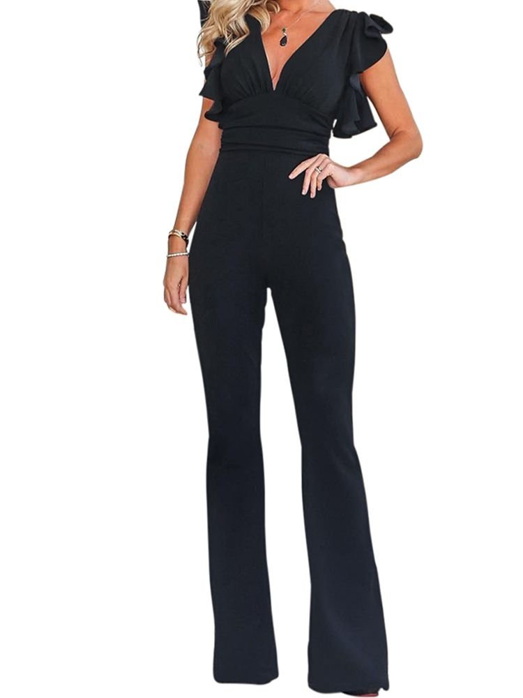 JurllyShe Ruched Plunging Bell-Bottoms Jumpsuit