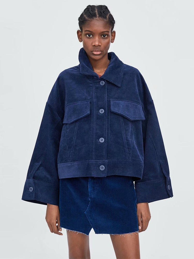 JurllyShe Corduroy Pocket Decoration Spliced Jacket