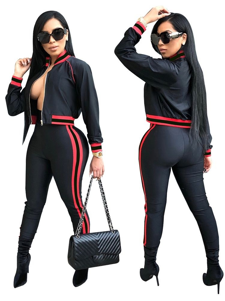 JurllyShe Contrast Striped Jacket With Pencil Pants Two Piece Sets