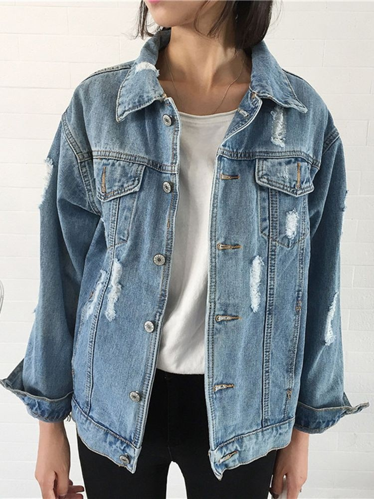 JurllyShe Wash Ripped Pocket Denim Jacket