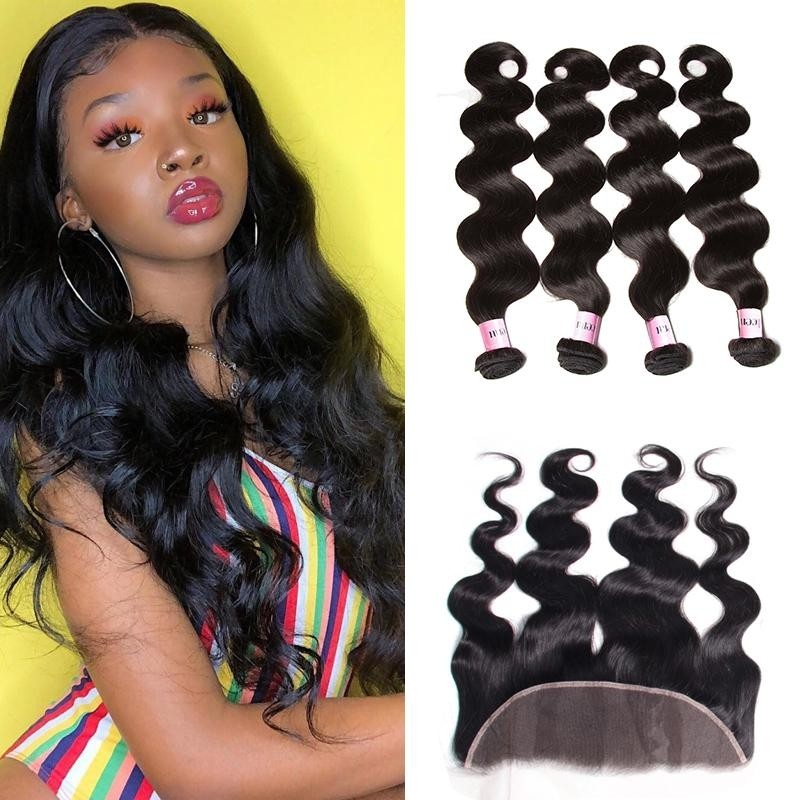 AfricanMall 4 Bundles Body Wave Virgin Human Hair With 13*4 Ear To Ear Lace Frontal Closure