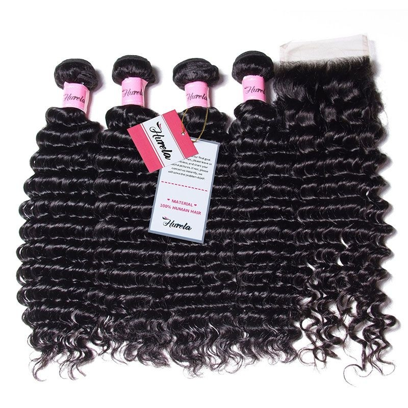 Hurela Series Deep Wave 4 Bundles Unprocessed Virgin Hair with 4*4 Free Part Lace Closure