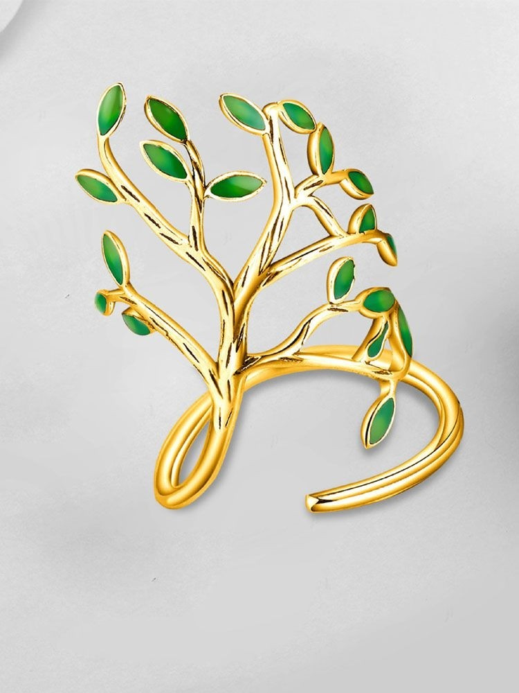Epoxy Leaf Design Branch Shaped Cuff Ring