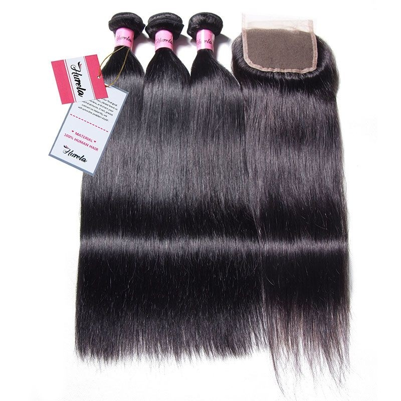 Hurela Series 3 Bundles Straight Upprocessed Virgin Hair with 4x4 Lace Closure Deals
