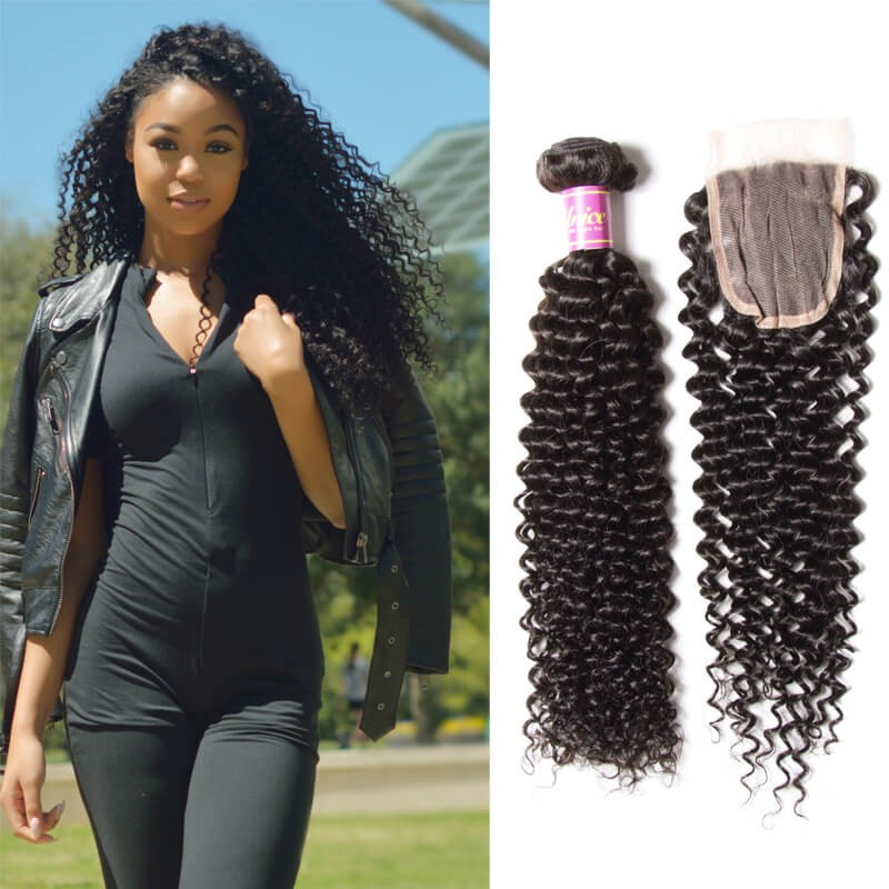 Unice 4bundles Virgin Indian Kinky Curly Hair Weave With Lace Closures