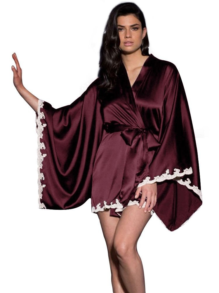 JurllyShe Batwing Sleeve Soft Faux Silk Sleepwear Home Nightgown