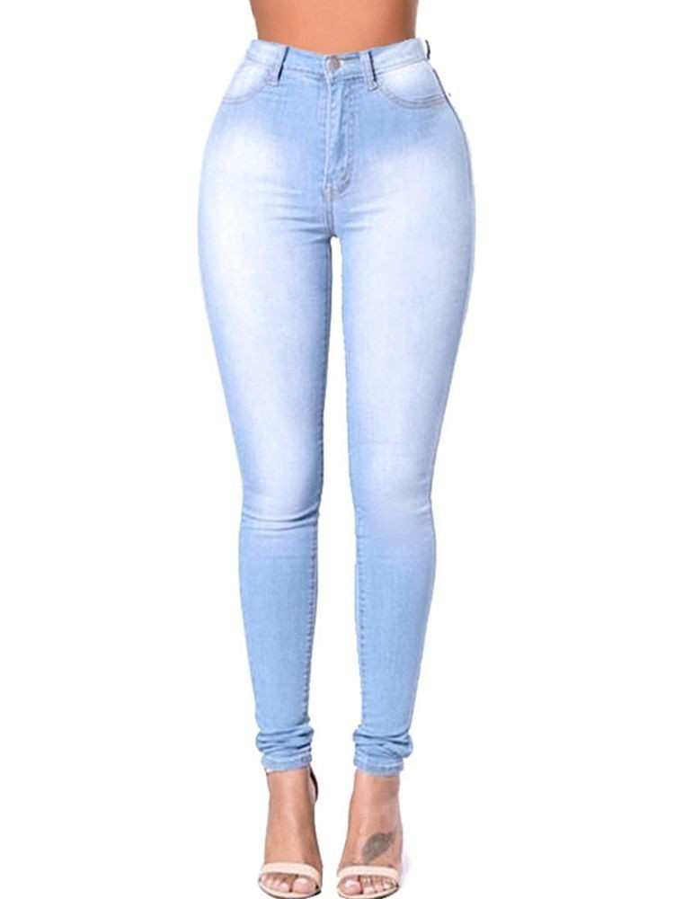 JurllyShe Bleach Wash High Waist Bodycon Jeans