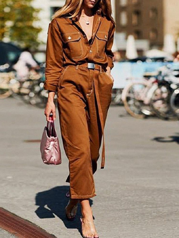 JurllyShe Button Front Self Belted Solid Jumpsuit