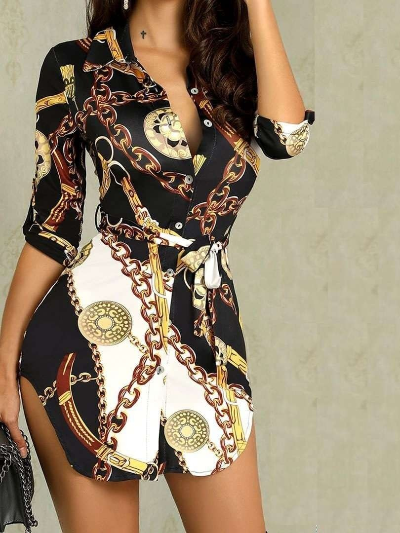 JurllyShe Chain Printing Belted Shirt Dress