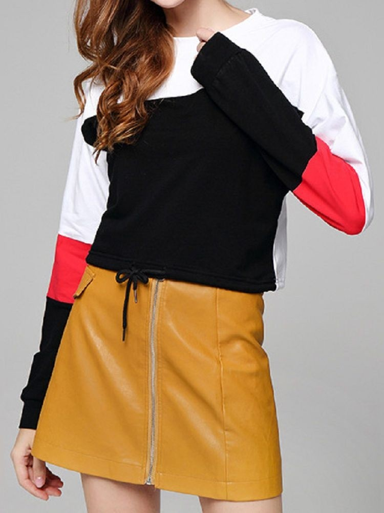 JurllyShe Color Block Round Neck Crop Top