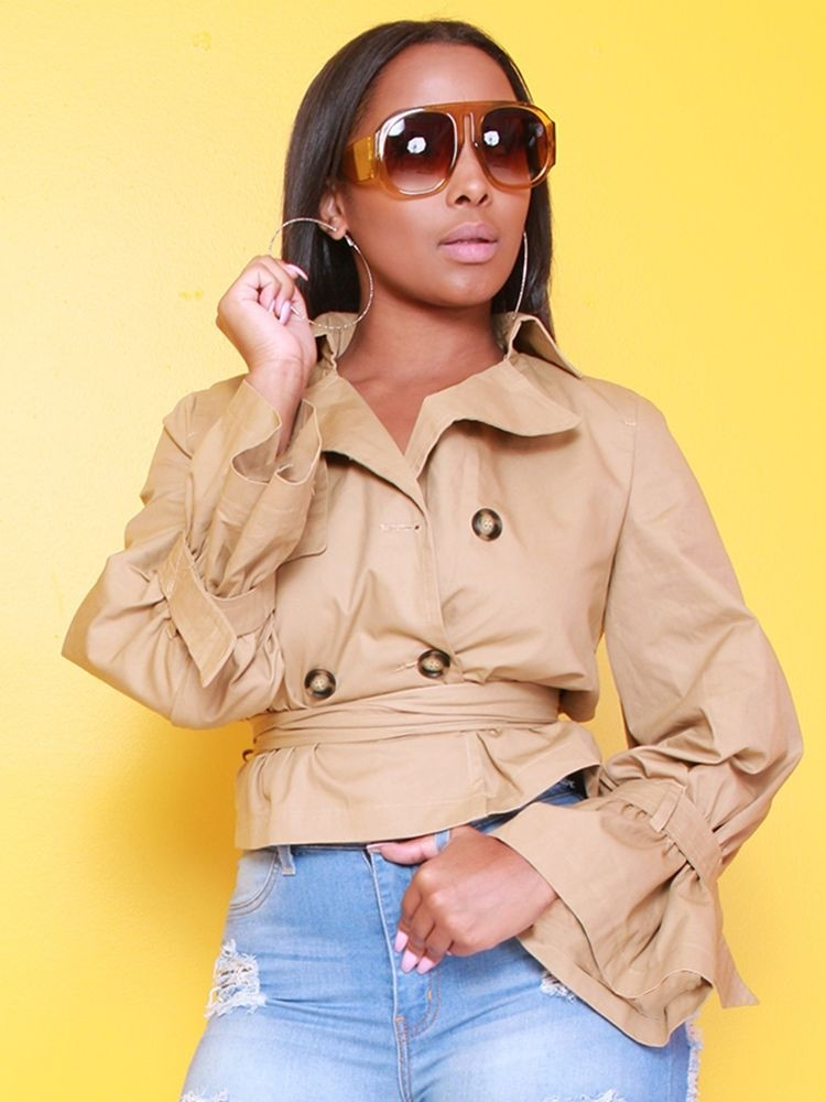 JurllyShe Double Breasted Short Wind Coat With Belt