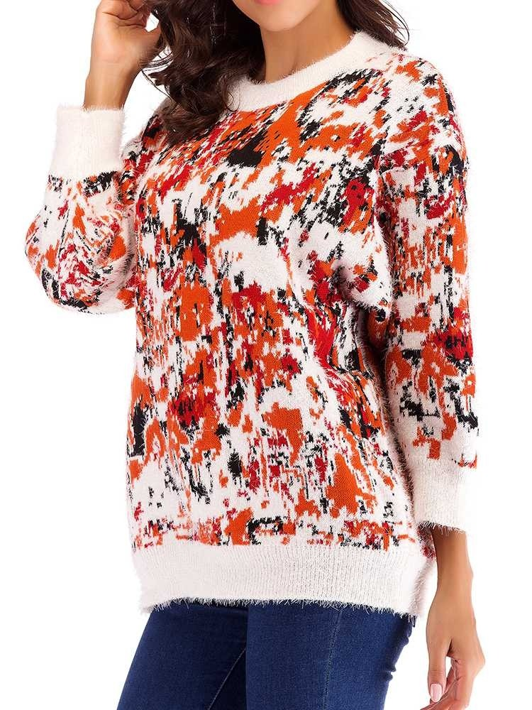 JurllyShe Drop Shoulder Colorful Knitting Loose Sweater