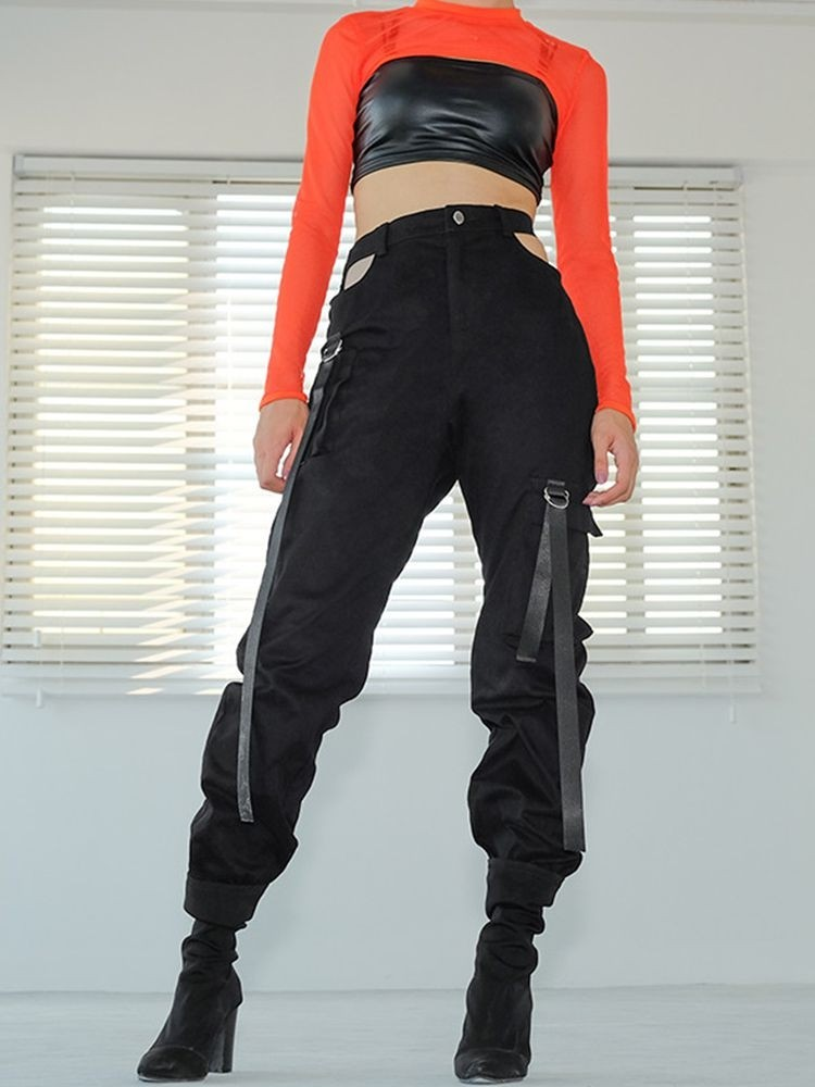 JurllyShe Hollow Out Pocket Patched Strap Pants