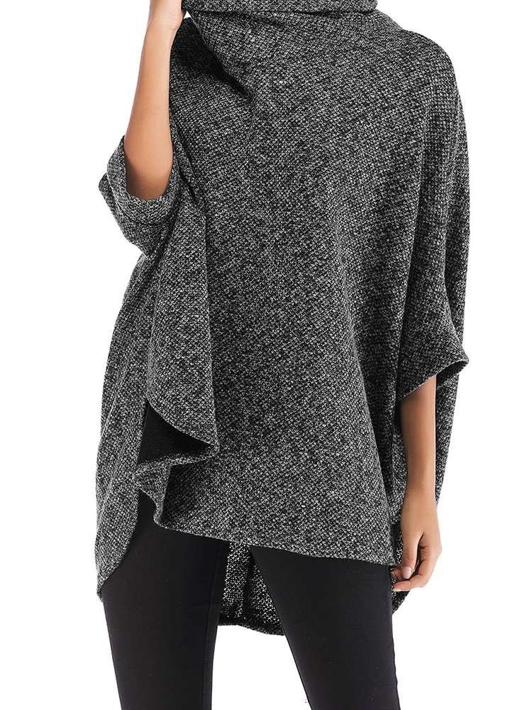 JurllyShe Knitting Asymmetrical Batwing Sleeve Jumper