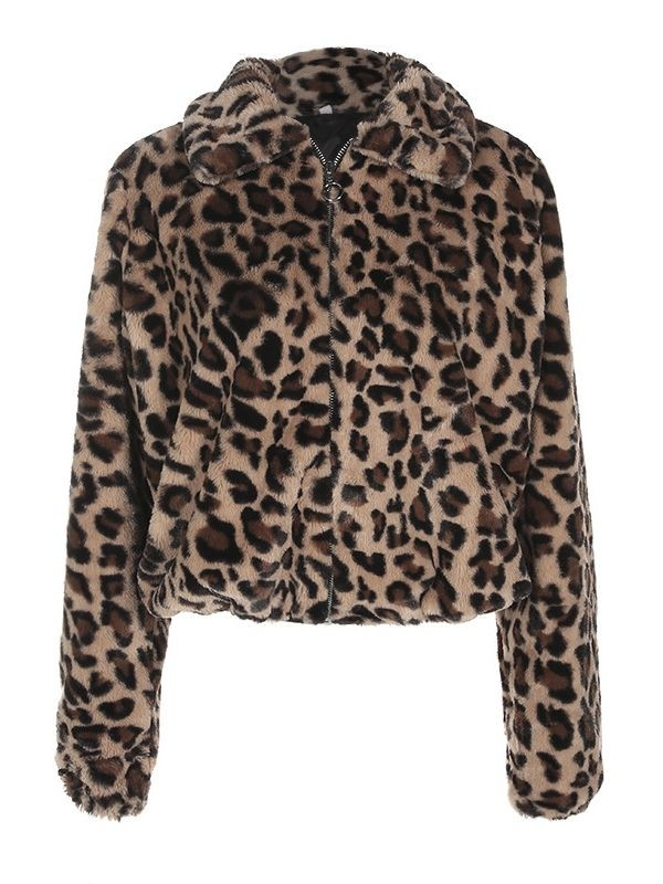 JurllyShe Leopard Print Zipper Up Turn Down Collar Jacket