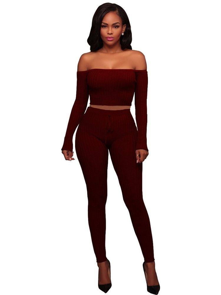 JurllyShe Off Shoulder Rib Knit Crop Top And Pants Two Piece Sets