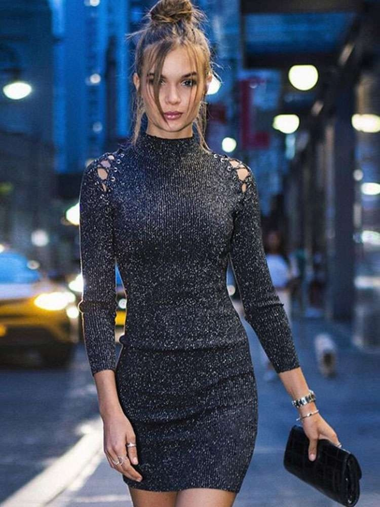 JurllyShe Sequin O-Neck Shoulder Hollow Out Bodycon Dress