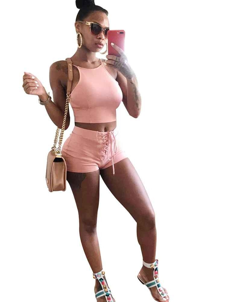 JurllyShe Sexy Solid Color Sporty Vest And Shorts Set