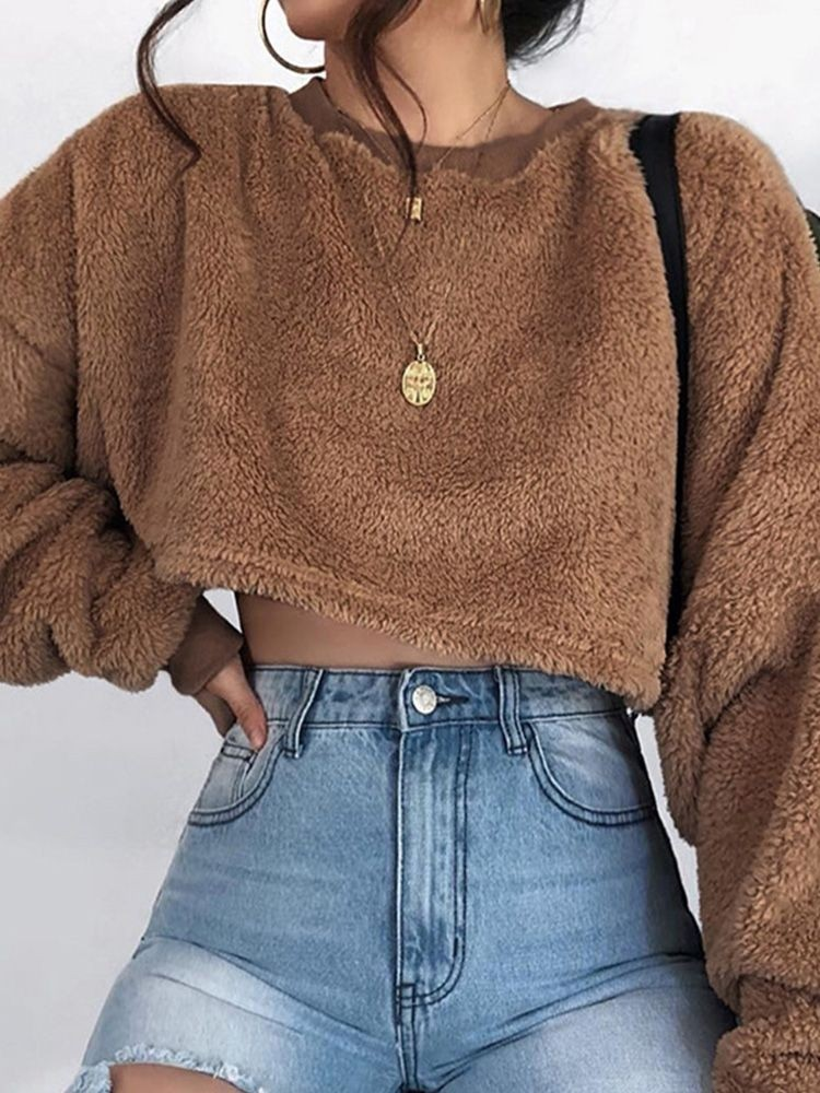 JurllyShe Solid Crop Teddy Sweatshirt