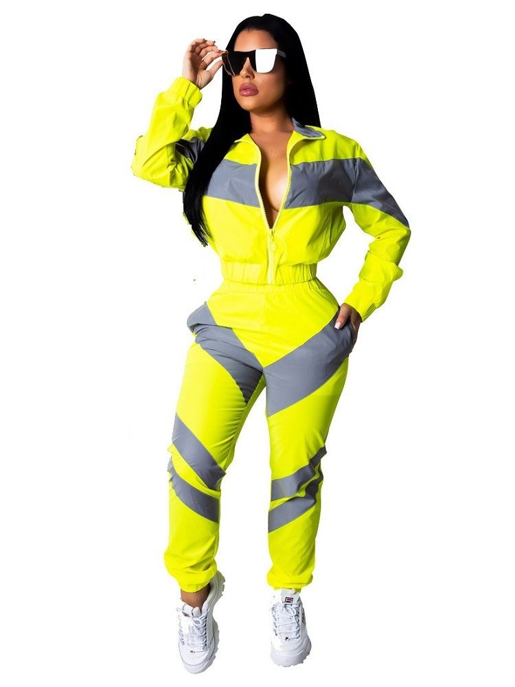 JurllyShe Zip Up Color Block Jacket & Pants Two Piece Sets