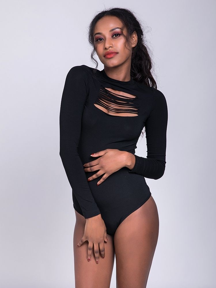 JurllyShe Hollow Out O Neck Sexy Bodysuit