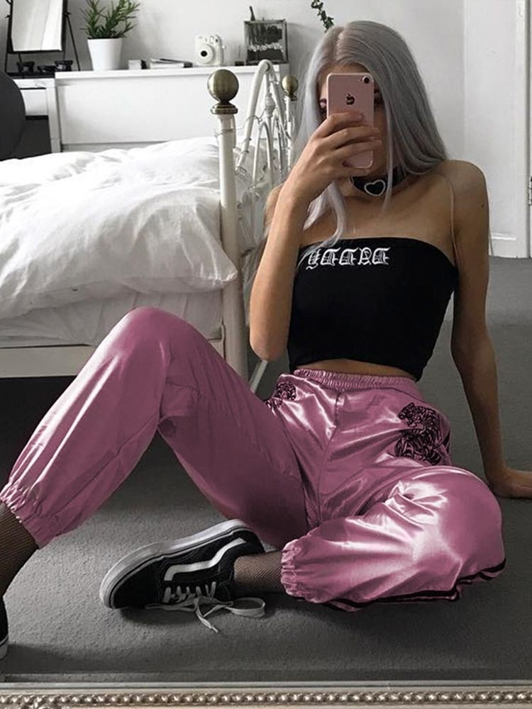JurllyShe Elastic Tiger Embroidery Spliced Pants