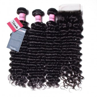 Hurela Series 3 Bundles Deep Wave Unprocessed Human Virgin Hair with 4*4 Lace Closure