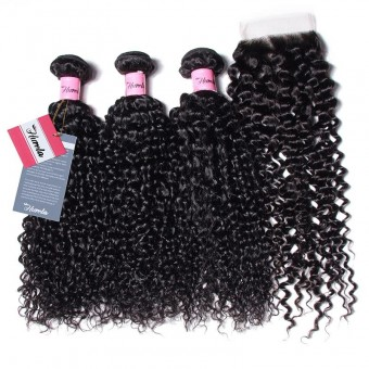 Hurela Series 3 Bundles Jerry Curly Human Virgin Hair with 4*4 Lace Swiss Closure