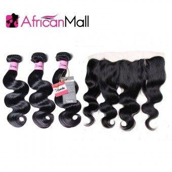 AfricanMall 3 Bundles Virgin Body Wave Human Hair With 13*4 Ear To Ear Lace Frontal Closure