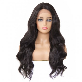 AfricanMall Long Side Parting Body Wave Lace Front Synthetic Wig
