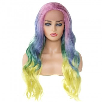 AfricanMall Colorful Wavy Ombre Natural Wavy  Lace Front Synthetic Wig