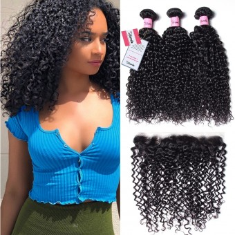 AfricanMall 3 Bundles Curly Weave Hair With 13*4inch Lace Frontal Closure