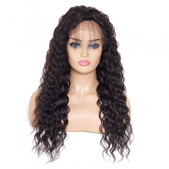 Unice Long Deep Wave Free Part Lace Front Human Hair Wig With Baby Hair
