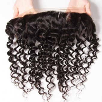 AfricanMall 13*4 Deep Wave Lace Frontal Virgin Human Hair Closure