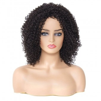 AfricanMall Inclined Bang Kinky Curly Synthetic Hair Wig