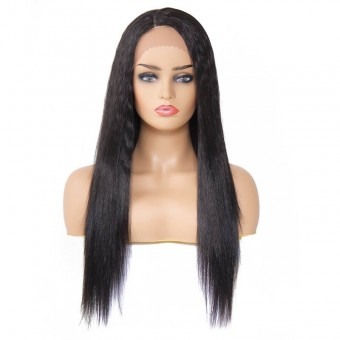 AfricanMall Side Part Long Straight Synthetic Lace Front Wig