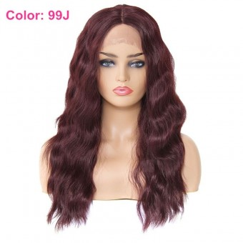 AfricanMall Long Body Wave Middle Parting Lace Front Synthetic Hair Wig