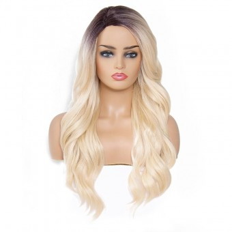 AfricanMall Side Parting Natural Body Wave Synthetic Hair Wig