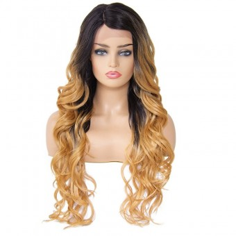 AfricanMall Side Parting Ombre Color Long Body Wave Synthetic Hair Wig