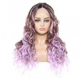AfricanMall Ombre Purple Body Wave Synthetic Lace Front Wig